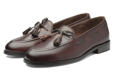 Winston Leather Knot Loafers - Cherry/Brown - Dapperfeet