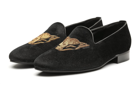 Wolf Zardozi Slipons - Black - Dapperfeet