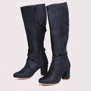 Belted Suede High Boots - Navy Blue