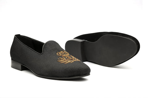 Fred Arrow Zardozi Slipons  - Black - Dapperfeet