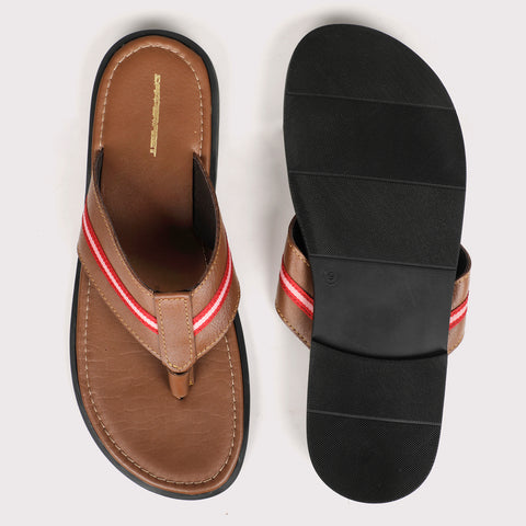 V Strap Leather Slippers - Tan