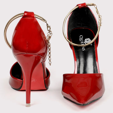 Jwell Ankle Strap Stilettoes - Red Patent