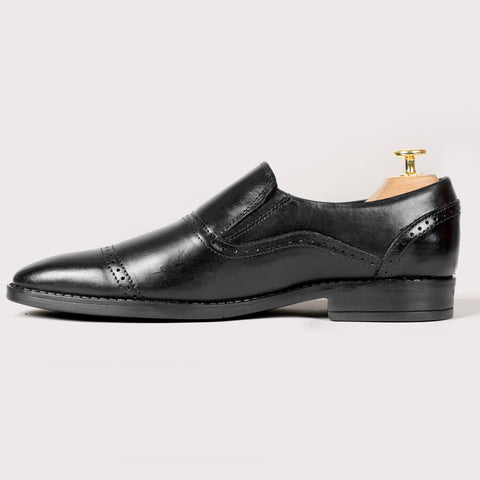 Louise Leather Moccasins - Black