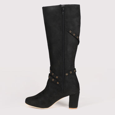 Belted Suede High Boots - Black
