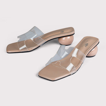 Round Heels Clear Mules - Nude - Dapperfeet