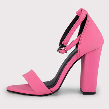 Nubuck Ankle Straps - Neon Pink