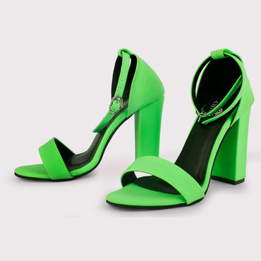 Nubuck Ankle Straps - Neon Green