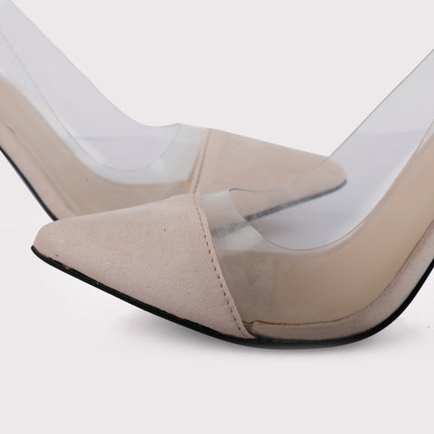 See Through Suede Stilettos - Nude
