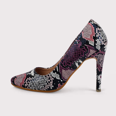 Snake Skin Stilettos - Purple/Black