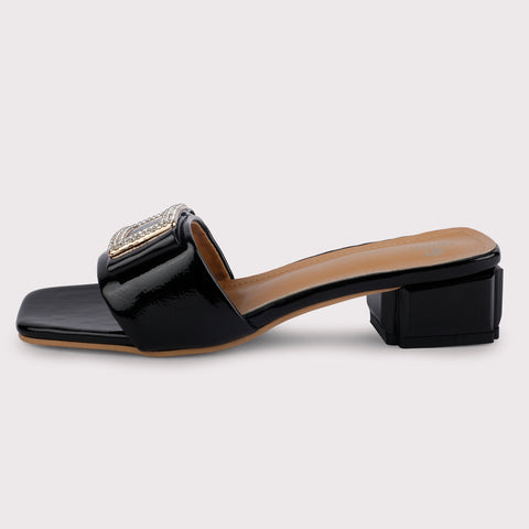 Rectangle Buckle Mules Patent - Black