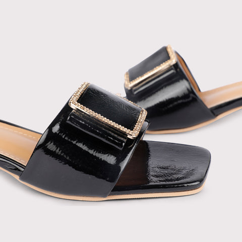 Pin Buckle Mules Patent - Black