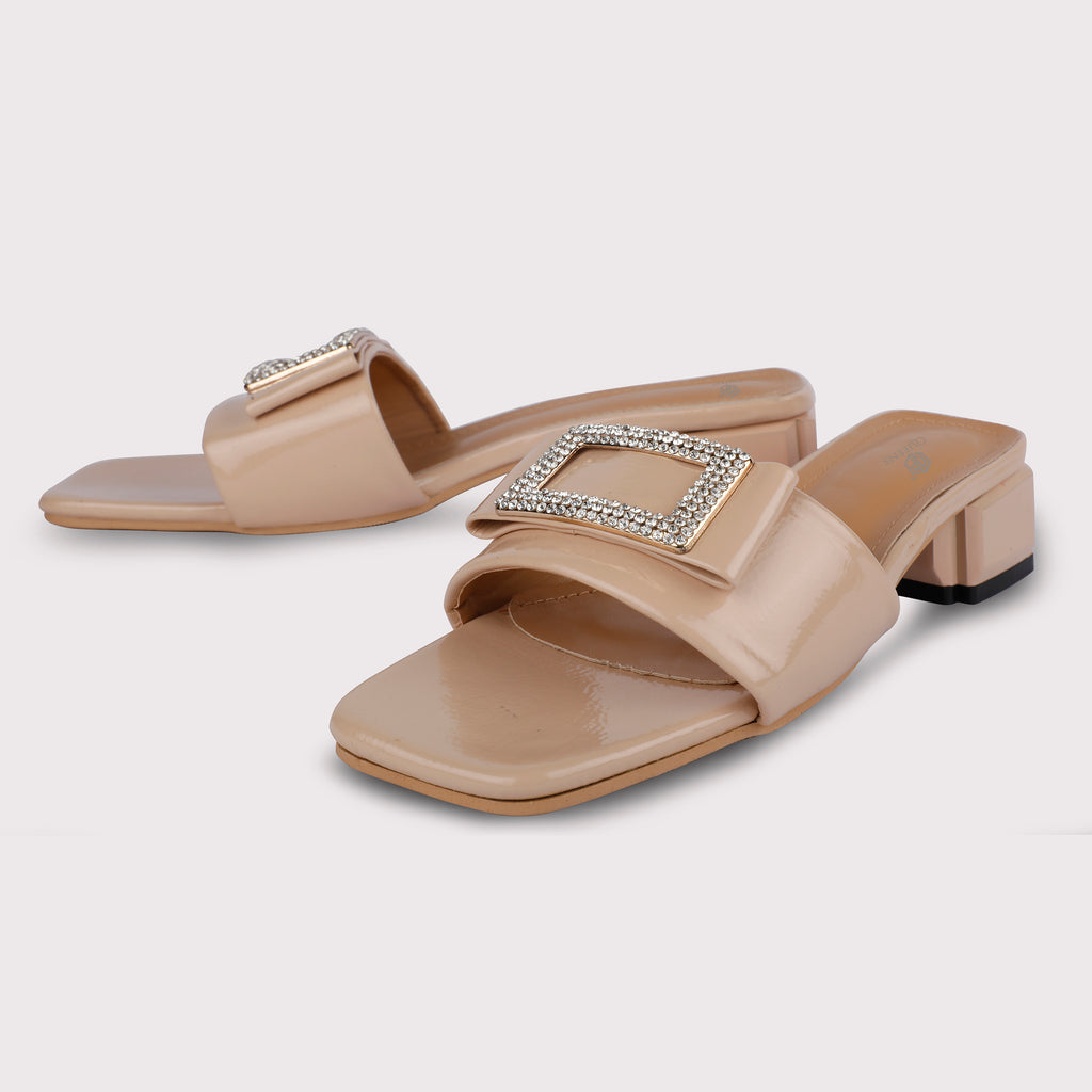 Rectangle Buckle Mules Patent - Nude
