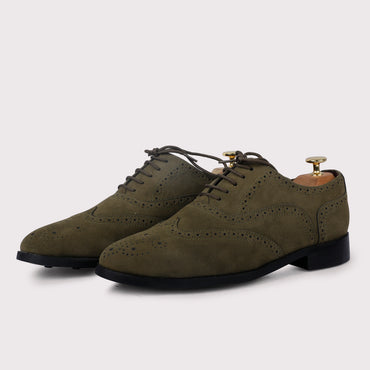 Forrero Suede Brogues - Olive Green