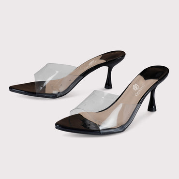 Clear Kitten Mules - Black Patent