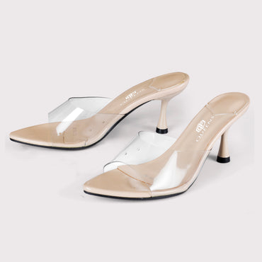 Clear Kitten Mules - Nude