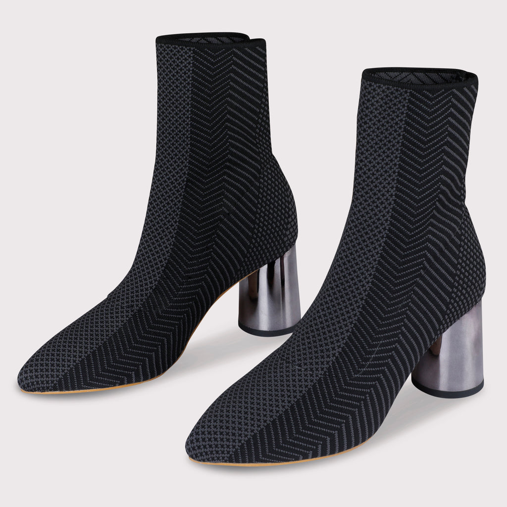 Knit-Style Boots - Grey