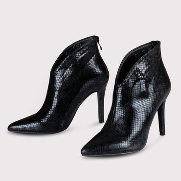 Python Ankle Boots - Black