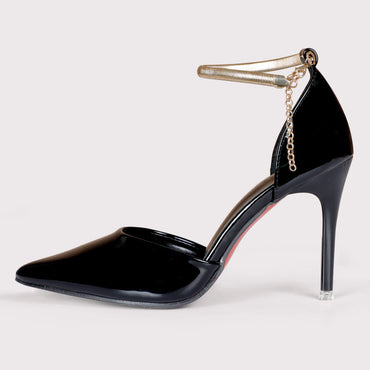Jwell Ankle Strap Stilettoes - Black Patent