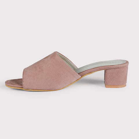 Block Heel Suede Mules - Light Pink - Dapperfeet