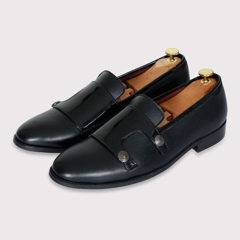 Jason Buttoned Monk Straps - Black - Dapperfeet