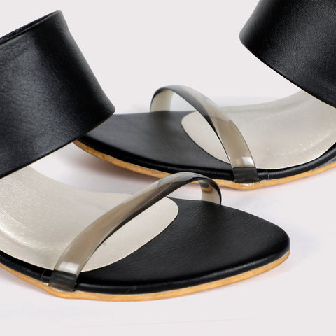 Clear Wedge Sandals - Black