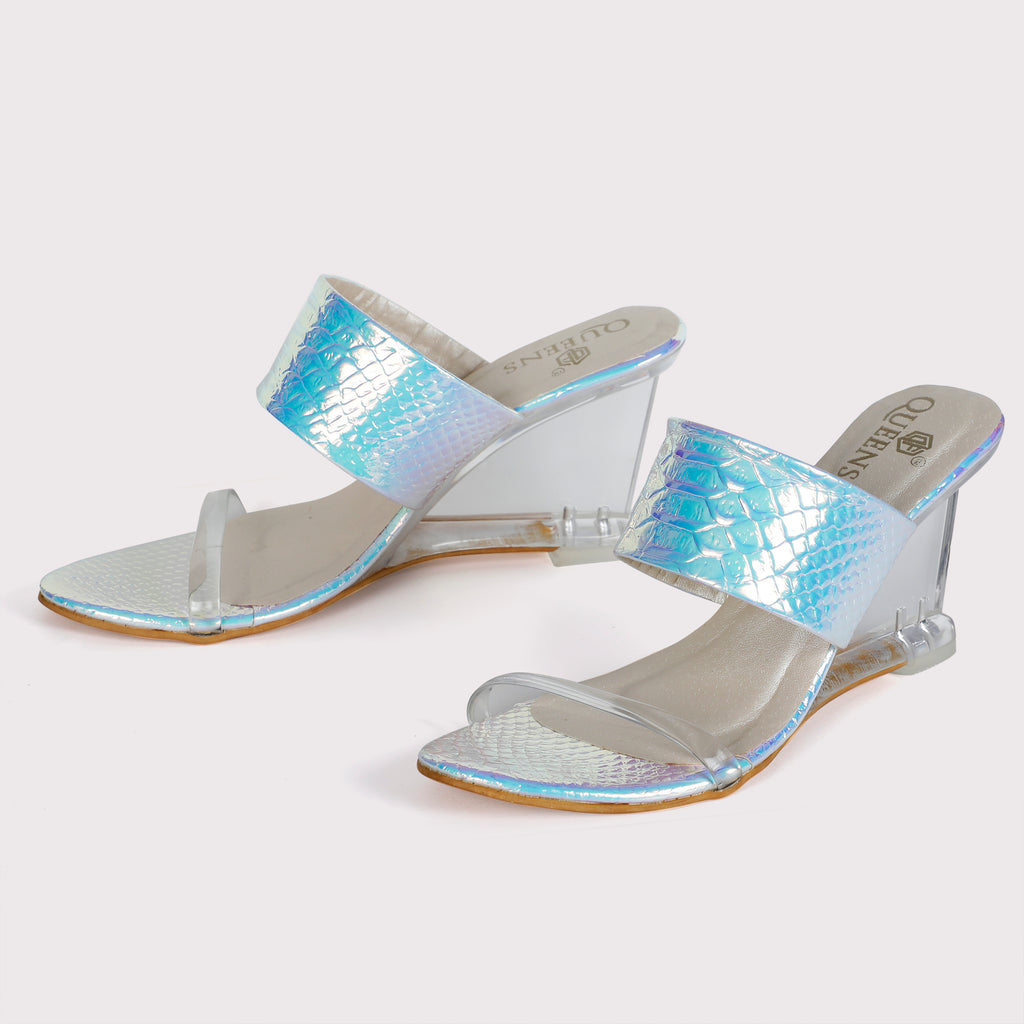 Clear Wedge Sandals - Fish Silver