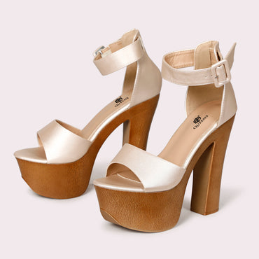 Chunky Sole Ankle Straps - Light Beige