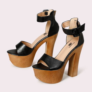 Chunky Sole Ankle Straps - Black