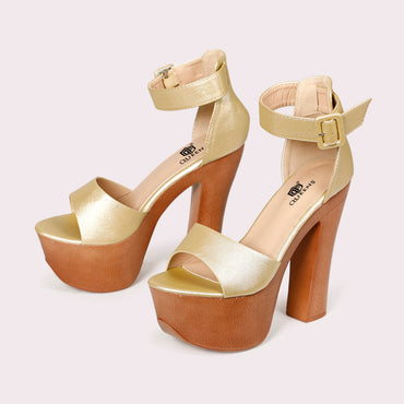 Chunky Sole Ankle Strap - Gold