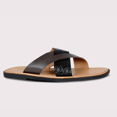 Cross Strap Slippers - Croc/Brown