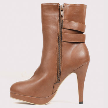 Twin Buckle Stilettoe Boots - Brown