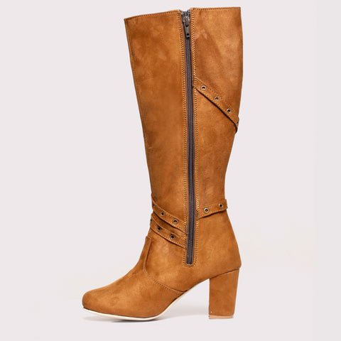Belted Suede High Boots - Tan