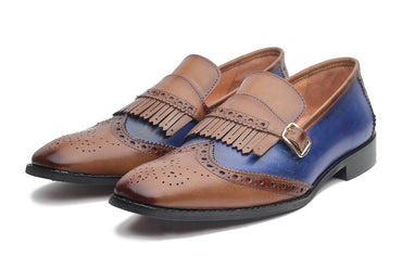 Mayfair Loafers - Tan/Blue - Dapperfeet