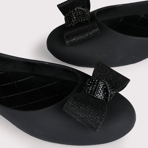 Bow Detail Jellies  - Black - Dapperfeet