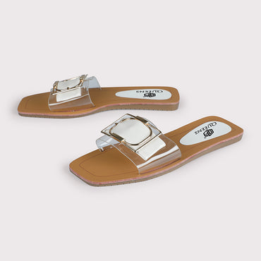 Buckle Flats  - White - Dapperfeet