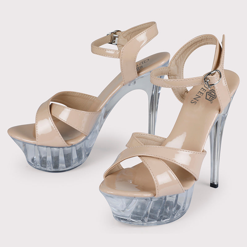 Clear Cross Platforms Patent - Nude - Dapperfeet