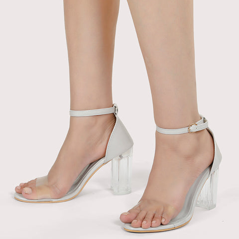 Clear Heel Ankle Strap - Grey - Dapperfeet