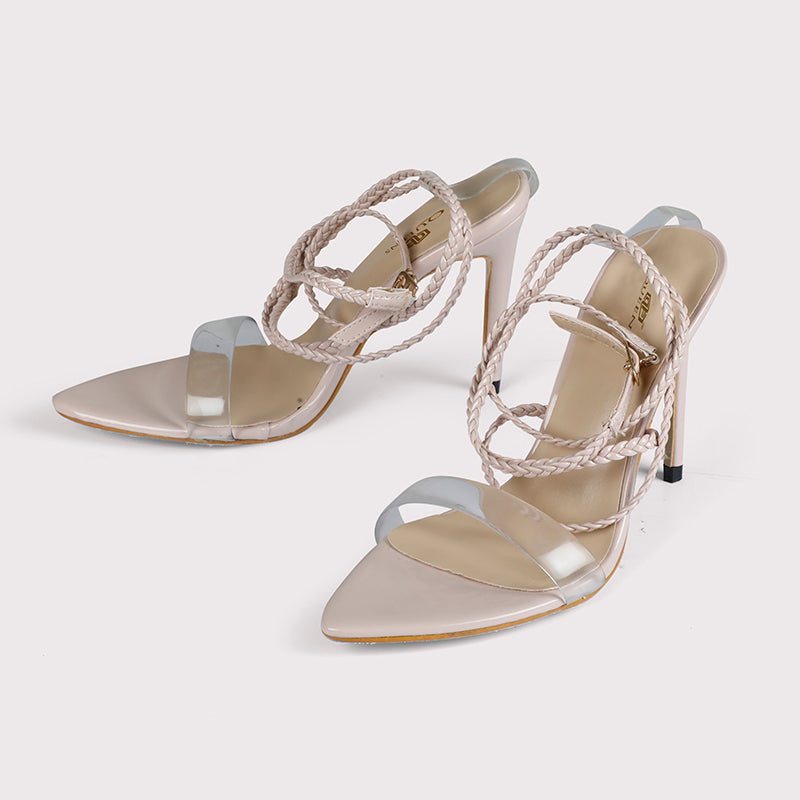 Clear Peep Toe Tie Ups - Light Pink - Dapperfeet