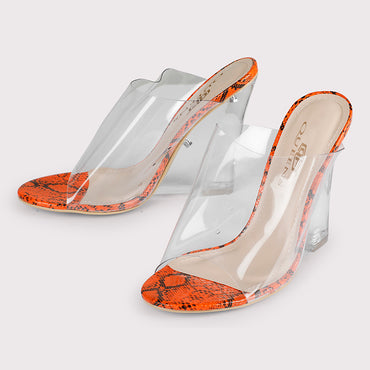 Clear Wedges Snake - Orange - Dapperfeet