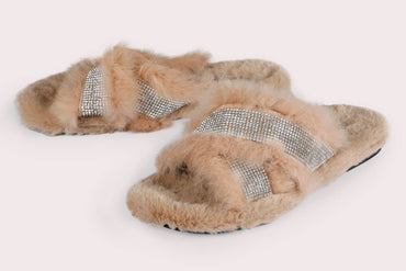 Glitter Faux Fur Slides - Tan - Dapperfeet