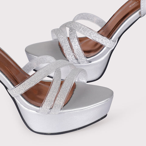 Glitter Clear Ankle Straps  - Silver - Dapperfeet