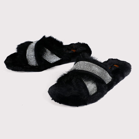 Glitter Faux Fur Slides - Black - Dapperfeet