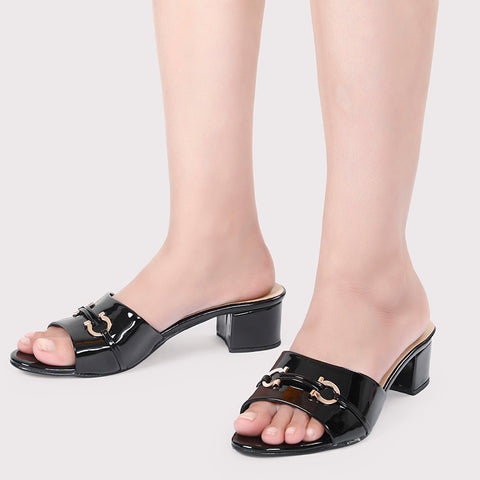 Horsebit Buckle Sandles Patent - Black - Dapperfeet