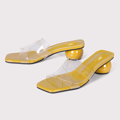 Round Heel Clear Mules  - Yellow - Dapperfeet
