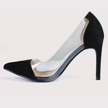 See Through Suede Stilettos - Black - Dapperfeet