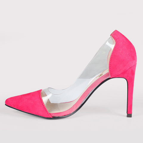 See Through Suede Stilettos - Hot Pink - Dapperfeet