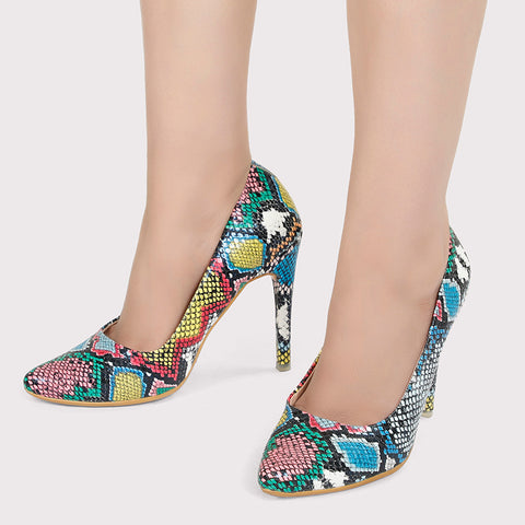 Snake Skin Stilettos - Multicolor - Dapperfeet