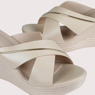 Striped Wedge Sliders - Beige - Dapperfeet