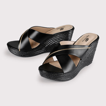 Striped Wedge Sliders - Black - Dapperfeet