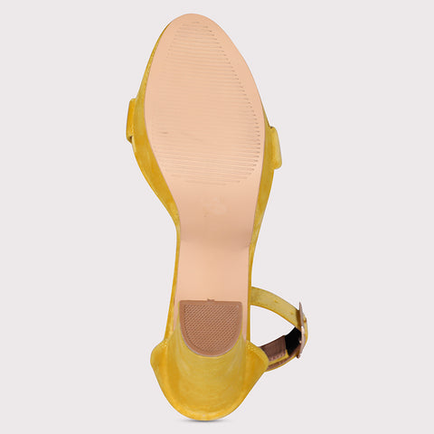 Suede Open Toe Platforms  - Yellow - Dapperfeet